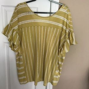 Lucky Brand Gold White Stripe ruffle sleeve Top